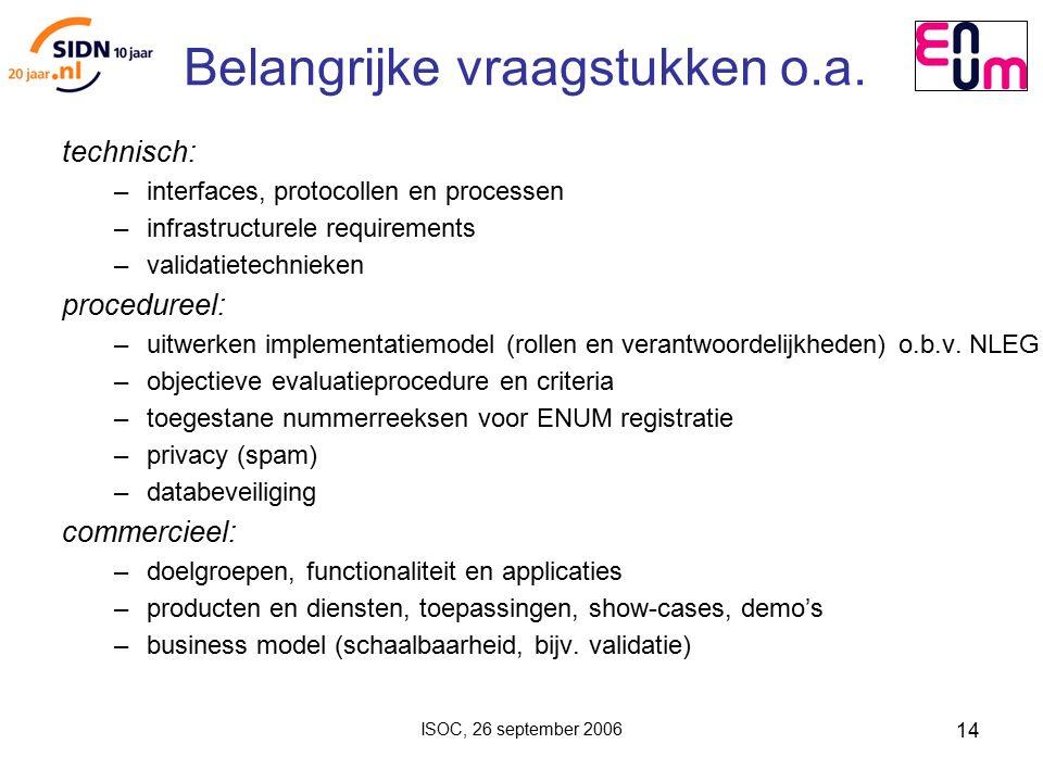 ISOC, 26 september 2006 14 Belangrijke vraagstukken o.a.