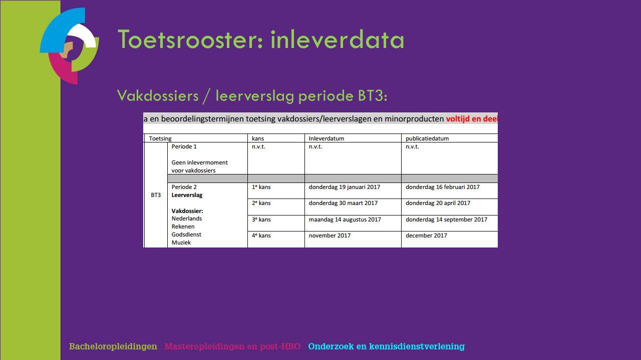 Toetsrooster: inleverdata Vakdossiers / leerverslag periode BT3:
