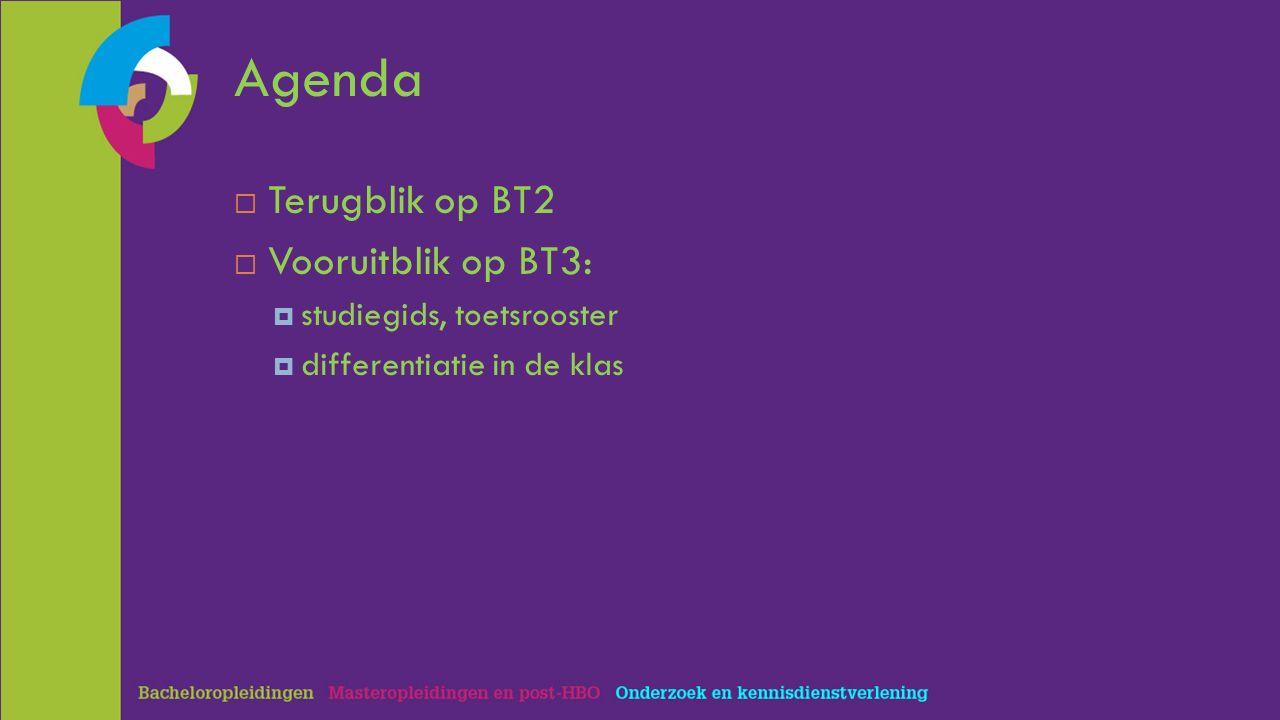 Agenda  Terugblik op BT2  Vooruitblik op BT3:  studiegids, toetsrooster  differentiatie in de klas