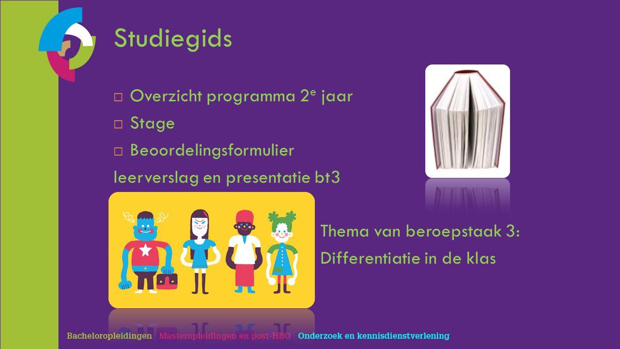 Studiegids  Overzicht programma 2 e jaar  Stage  Beoordelingsformulier leerverslag en presentatie bt3 Thema van beroepstaak 3: Differentiatie in de klas