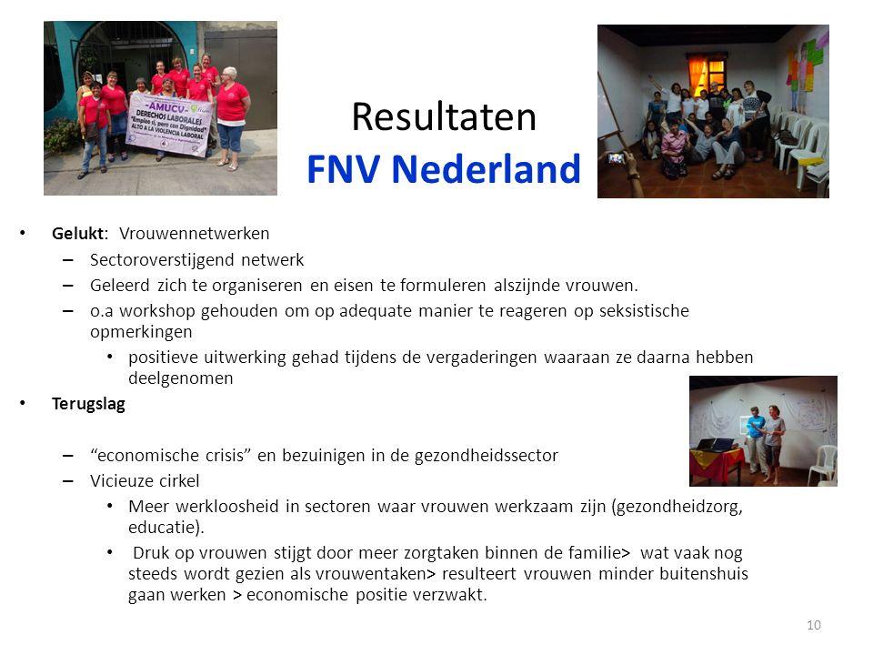 Resultaten FNV Nederland Gelukt: Vrouwennetwerken – Sectoroverstijgend netwerk – Geleerd zich te organiseren en eisen te formuleren alszijnde vrouwen.