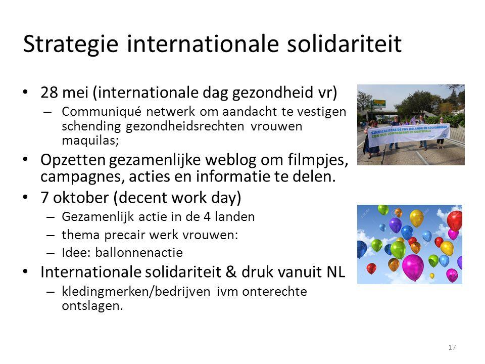 Strategie internationale solidariteit 28 mei (internationale dag gezondheid vr) – Communiqué netwerk om aandacht te vestigen schending gezondheidsrechten vrouwen maquilas; Opzetten gezamenlijke weblog om filmpjes, campagnes, acties en informatie te delen.