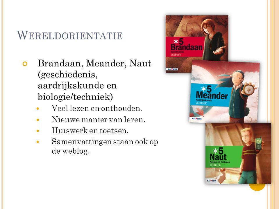 W ERELDORIENTATIE Brandaan, Meander, Naut (geschiedenis, aardrijkskunde en biologie/techniek) Veel lezen en onthouden. Nieuwe manier van leren. Huiswe