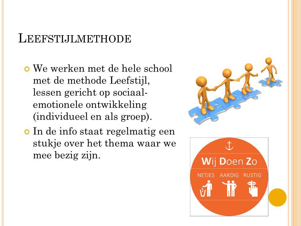 L EEFSTIJLMETHODE We werken met de hele school met de methode Leefstijl, lessen gericht op sociaal- emotionele ontwikkeling (individueel en als groep).