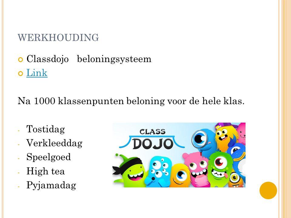 WERKHOUDING Classdojo beloningsysteem Link Na 1000 klassenpunten beloning voor de hele klas. - Tostidag - Verkleeddag - Speelgoed - High tea - Pyjamad