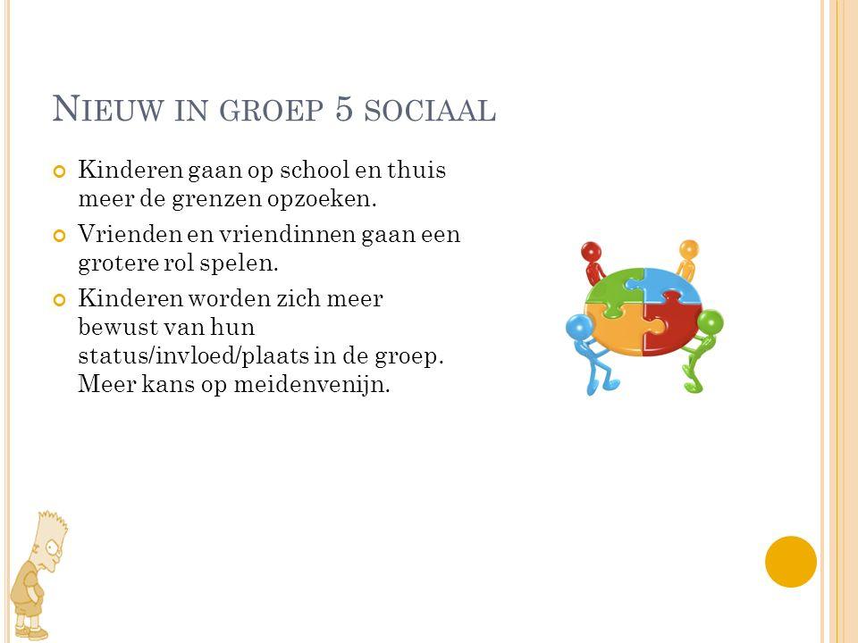 N IEUW IN GROEP 5 SOCIAAL Kinderen gaan op school en thuis meer de grenzen opzoeken. Vrienden en vriendinnen gaan een grotere rol spelen. Kinderen wor
