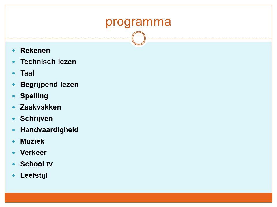 programma Rekenen Technisch lezen Taal Begrijpend lezen Spelling Zaakvakken Schrijven Handvaardigheid Muziek Verkeer School tv Leefstijl
