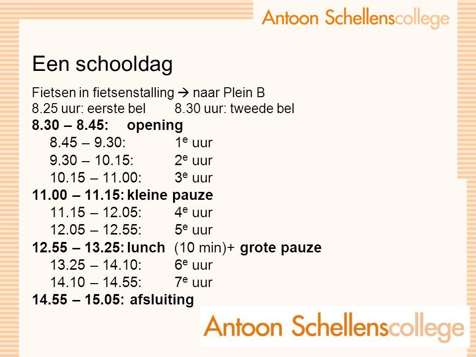 Een schooldag Fietsen in fietsenstalling  naar Plein B 8.25 uur: eerste bel 8.30 uur: tweede bel 8.30 – 8.45: opening 8.45 – 9.30: 1 e uur 9.30 – 10.15: 2 e uur 10.15 – 11.00: 3 e uur 11.00 – 11.15:kleine pauze 11.15 – 12.05: 4 e uur 12.05 – 12.55:5 e uur 12.55 – 13.25:lunch (10 min)+ grote pauze 13.25 – 14.10: 6 e uur 14.10 – 14.55:7 e uur 14.55 – 15.05: afsluiting