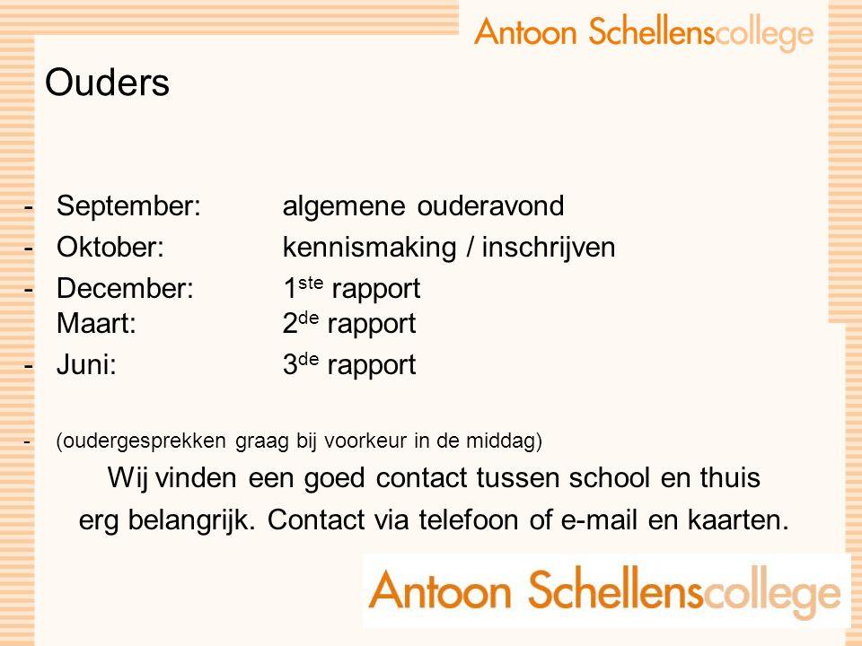 Ouders -September: algemene ouderavond -Oktober:kennismaking / inschrijven -December: 1 ste rapport Maart: 2 de rapport -Juni: 3 de rapport -(ouderges