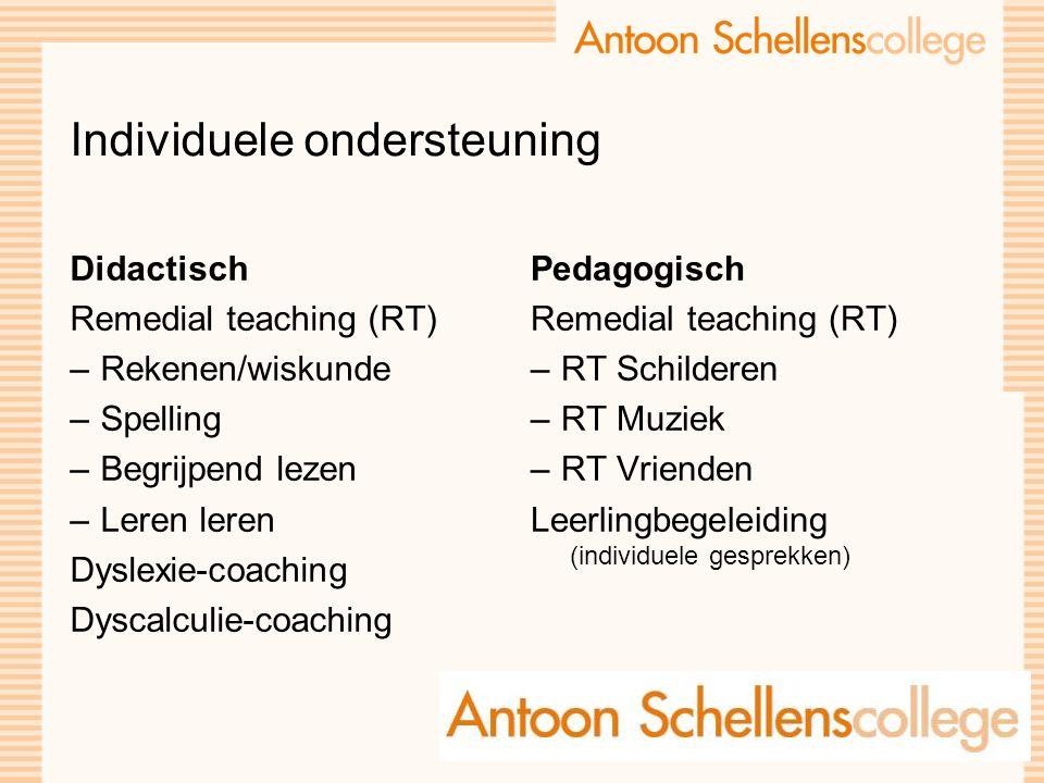 Individuele ondersteuning Didactisch Remedial teaching (RT) –Rekenen/wiskunde –Spelling –Begrijpend lezen –Leren leren Dyslexie-coaching Dyscalculie-c
