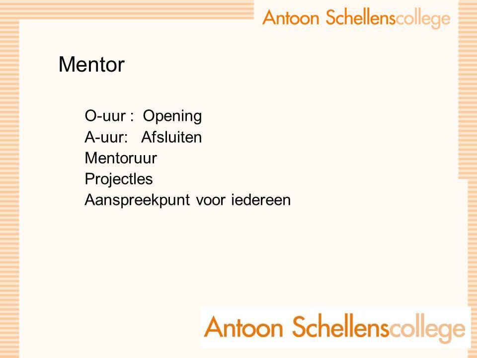 Mentor O-uur : Opening A-uur: Afsluiten Mentoruur Projectles Aanspreekpunt voor iedereen