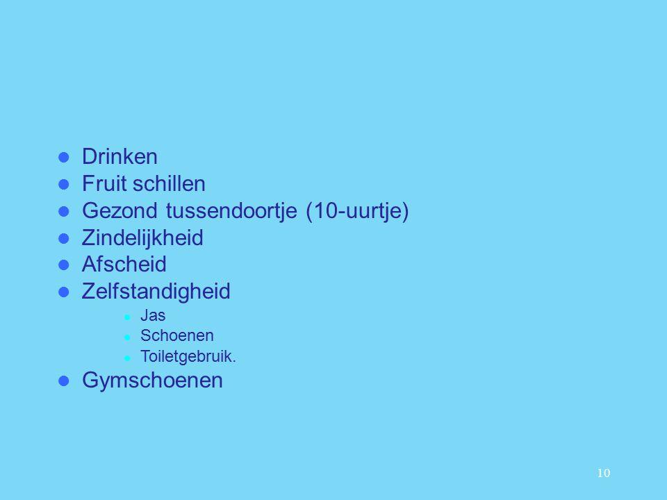 10 Drinken Fruit schillen Gezond tussendoortje (10-uurtje) Zindelijkheid Afscheid Zelfstandigheid Jas Schoenen Toiletgebruik.