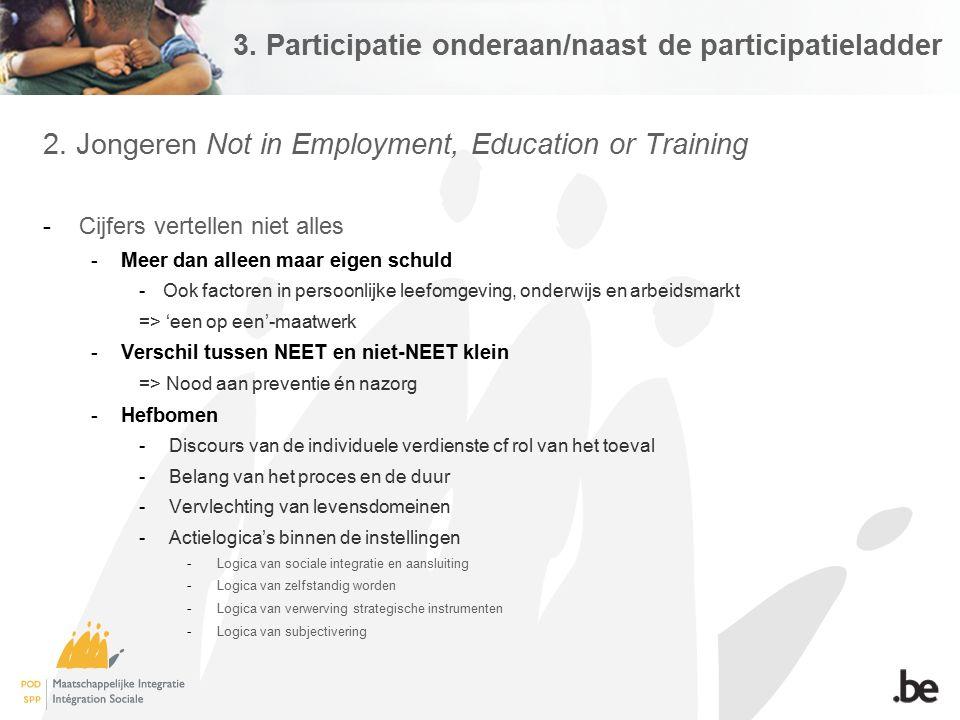 3. Participatie onderaan/naast de participatieladder 2. Jongeren Not in Employment, Education or Training -Cijfers vertellen niet alles -Meer dan alle
