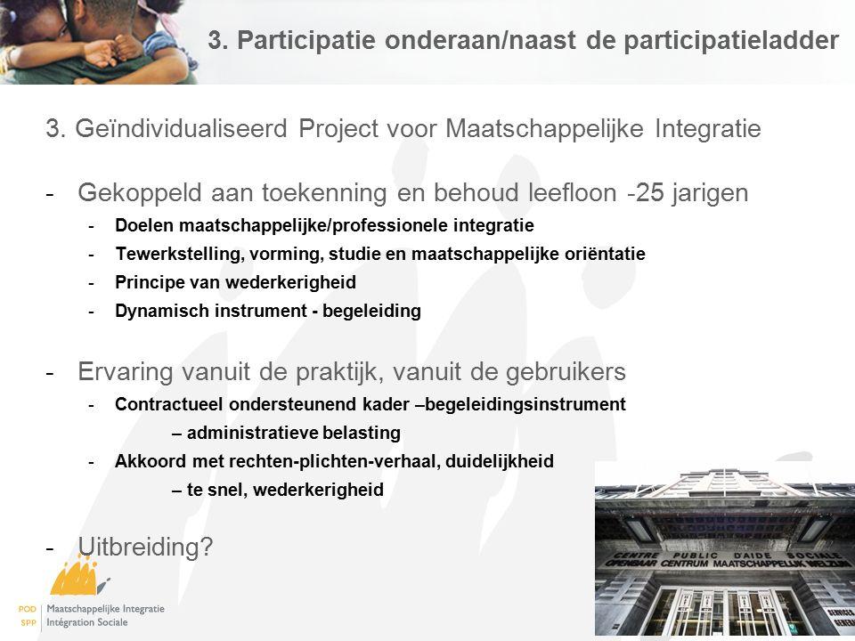 3. Participatie onderaan/naast de participatieladder 3. Geïndividualiseerd Project voor Maatschappelijke Integratie -Gekoppeld aan toekenning en behou