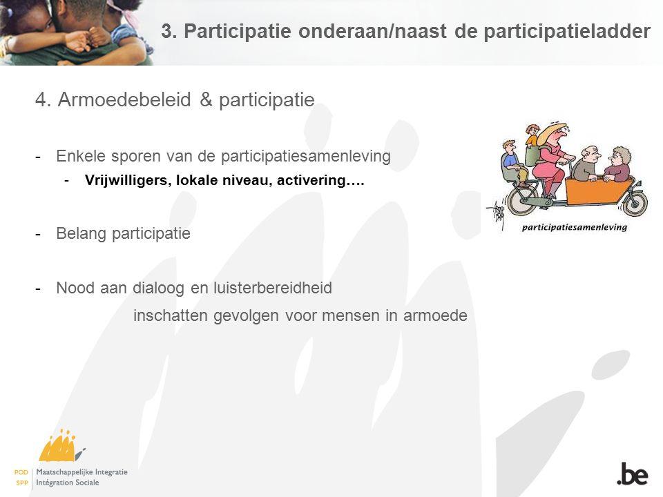 3. Participatie onderaan/naast de participatieladder 4. Armoedebeleid & participatie -Enkele sporen van de participatiesamenleving -Vrijwilligers, lok
