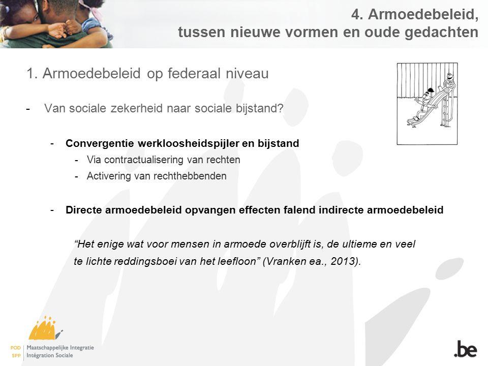 4. Armoedebeleid, tussen nieuwe vormen en oude gedachten 1. Armoedebeleid op federaal niveau -Van sociale zekerheid naar sociale bijstand? -Convergent