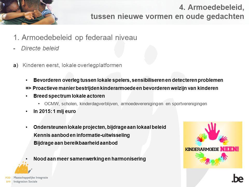 4. Armoedebeleid, tussen nieuwe vormen en oude gedachten 1. Armoedebeleid op federaal niveau -Directe beleid a)Kinderen eerst, lokale overlegplatforme