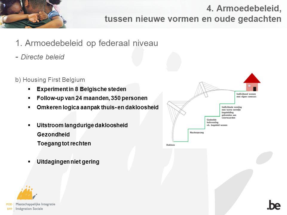 4. Armoedebeleid, tussen nieuwe vormen en oude gedachten 1. Armoedebeleid op federaal niveau - Directe beleid b) Housing First Belgium  Experiment in