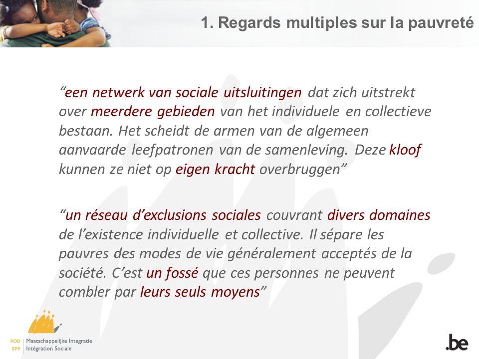 1)Indicateur des revenus – risque de pauvreté = Revenu équivalent inférieur à 60 % de la valeur médiane nationale  En 2014 : seuil de pauvreté de 1.085 € pour une personne isolée 2.279 € pour un ménage avec deux enfants  15,5%  15,5% de la population belge court un risque de pauvreté monétaire (2014)  Certains groupes sont plus à risque (18%), (20,4%) (16%) Enfants (18%), jeunes (20,4%) et les +65 ans (16%) (25,8%) (43%) Personnes ayant un faible niveau de formation (25,8%) ou sans emploi (43%) (22,4%) (36,4%) Personnes isolées (22,4%) et familles monoparentales (36,4%) (34,7%) Locataires (34,7%) (44,7%) Personnes de nationalité extérieure à l'UE (44,7%)