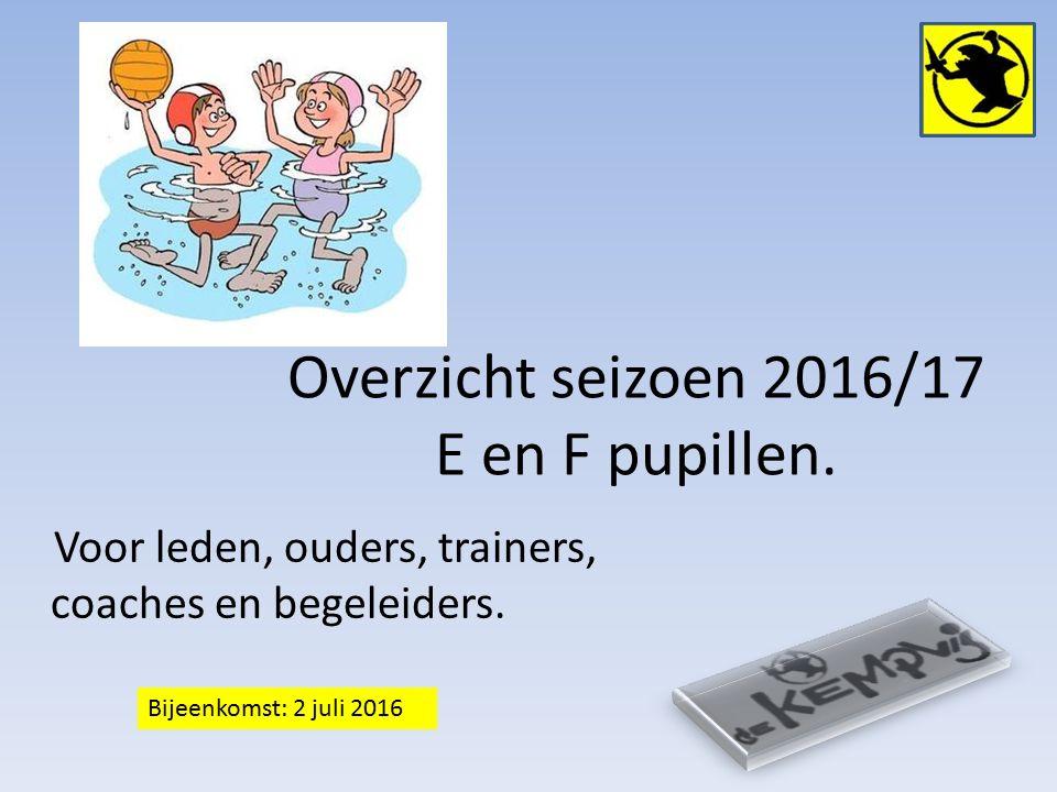 Overzicht seizoen 2016/17 E en F pupillen. Voor leden, ouders, trainers, coaches en begeleiders.