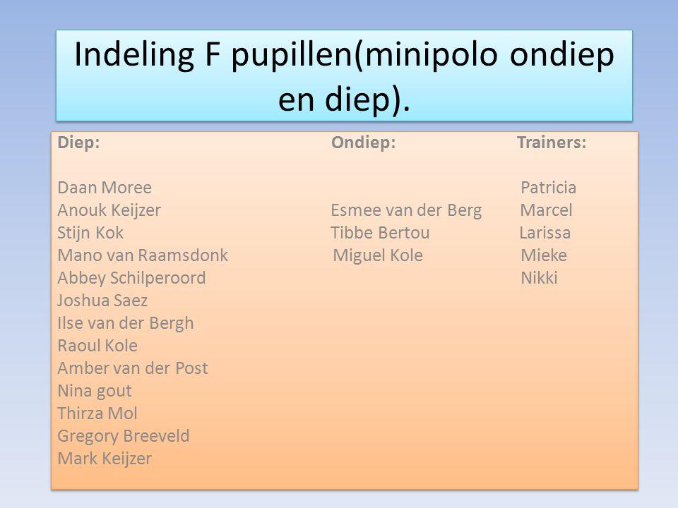 Indeling F pupillen(minipolo ondiep en diep).