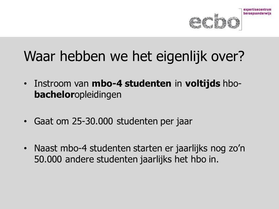 Instroom van mbo-4 studenten in voltijds hbo- bacheloropleidingen Gaat om 25-30.000 studenten per jaar Naast mbo-4 studenten starten er jaarlijks nog zo'n 50.000 andere studenten jaarlijks het hbo in.