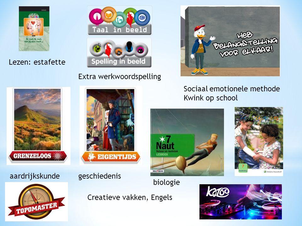 Lezen: estafette Extra werkwoordspelling Sociaal emotionele methode Kwink op school aardrijkskundegeschiedenis biologie Creatieve vakken, Engels