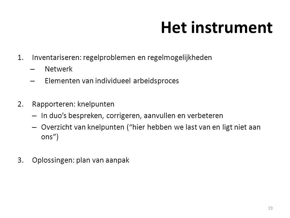 Het instrument 1.Inventariseren: regelproblemen en regelmogelijkheden – Netwerk – Elementen van individueel arbeidsproces 2.Rapporteren: knelpunten – In duo's bespreken, corrigeren, aanvullen en verbeteren – Overzicht van knelpunten ( hier hebben we last van en ligt niet aan ons ) 3.Oplossingen: plan van aanpak 19