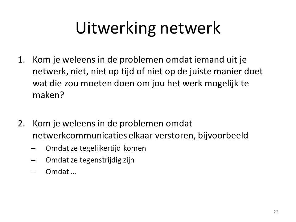 Uitwerking netwerk 1.Kom je weleens in de problemen omdat iemand uit je netwerk, niet, niet op tijd of niet op de juiste manier doet wat die zou moeten doen om jou het werk mogelijk te maken.