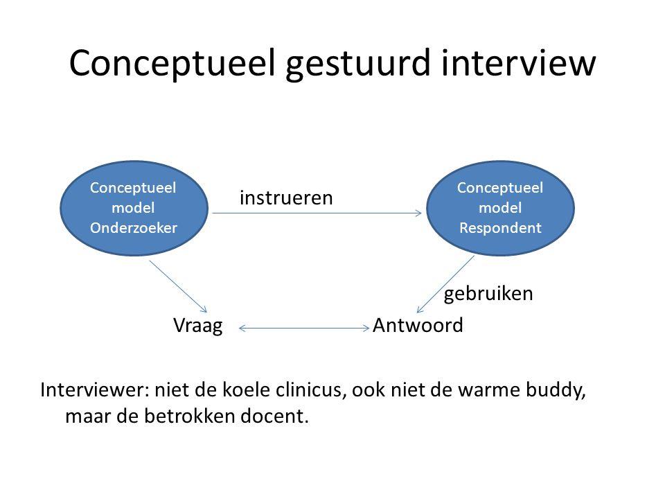 Conceptueel gestuurd interview instrueren gebruiken VraagAntwoord Interviewer: niet de koele clinicus, ook niet de warme buddy, maar de betrokken doce