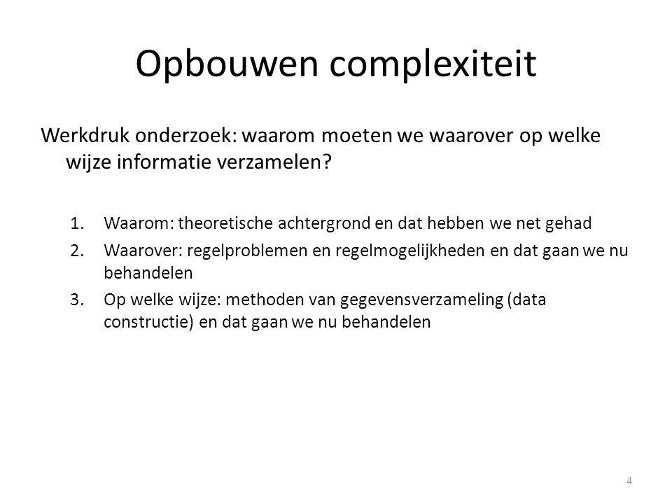 Opbouwen complexiteit Werkdruk onderzoek: waarom moeten we waarover op welke wijze informatie verzamelen? 1.Waarom: theoretische achtergrond en dat he