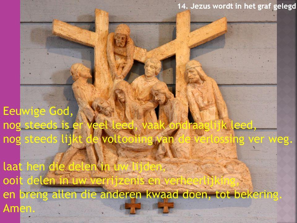 Eeuwige God, nog steeds is er veel leed, vaak ondraaglijk leed, nog steeds lijkt de voltooiing van de verlossing ver weg.