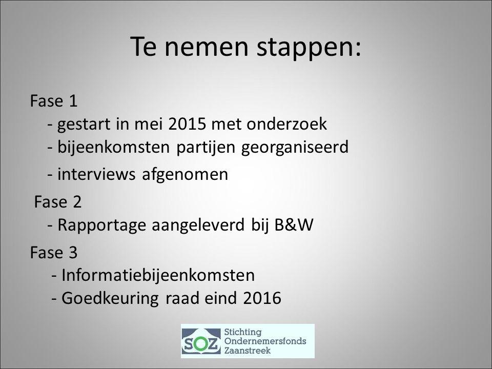 Te nemen stappen: Fase 1 - gestart in mei 2015 met onderzoek - bijeenkomsten partijen georganiseerd - interviews afgenomen Fase 2 - Rapportage aangeleverd bij B&W Fase 3 - Informatiebijeenkomsten - Goedkeuring raad eind 2016