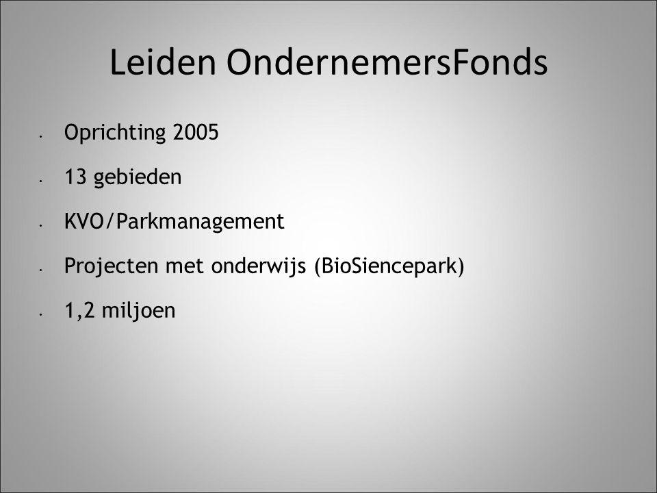 Leiden OndernemersFonds Oprichting 2005 13 gebieden KVO/Parkmanagement Projecten met onderwijs (BioSiencepark) 1,2 miljoen