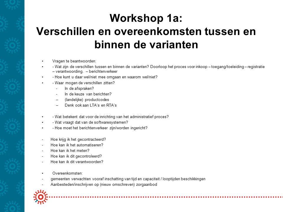 Workshop 1a: Verschillen en overeenkomsten tussen en binnen de varianten Vragen te beantwoorden: - Wat zijn de verschillen tussen en binnen de varianten.