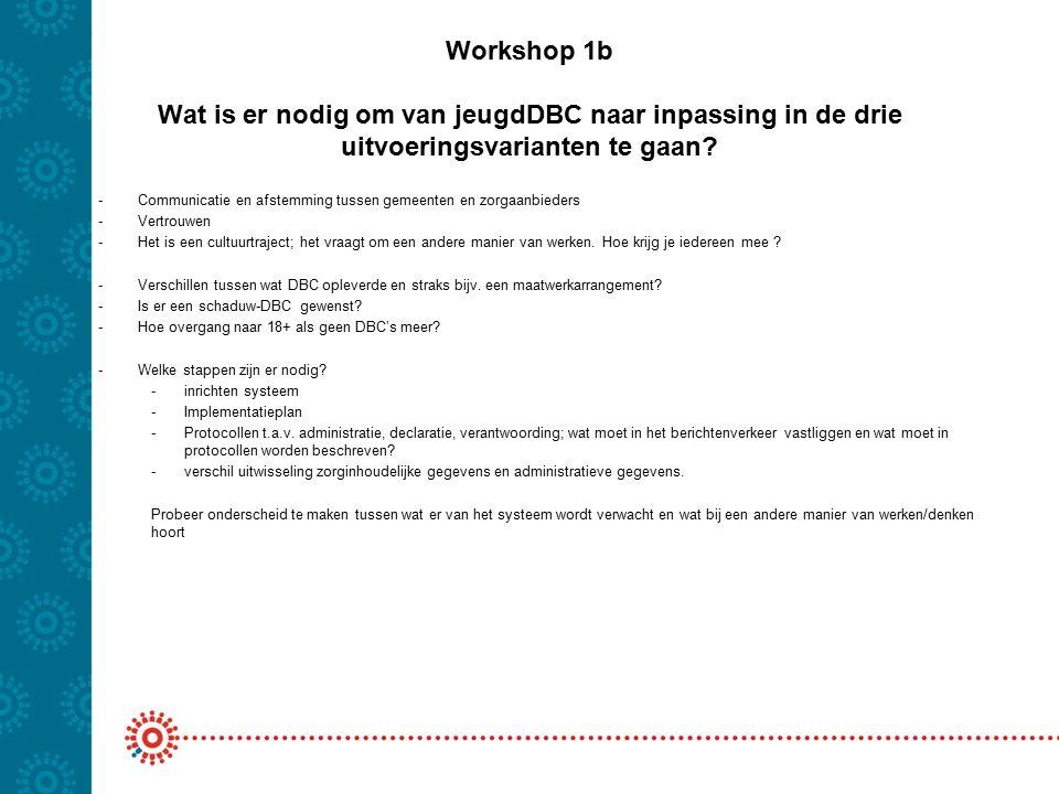 Workshop 1b Wat is er nodig om van jeugdDBC naar inpassing in de drie uitvoeringsvarianten te gaan? -Communicatie en afstemming tussen gemeenten en zo