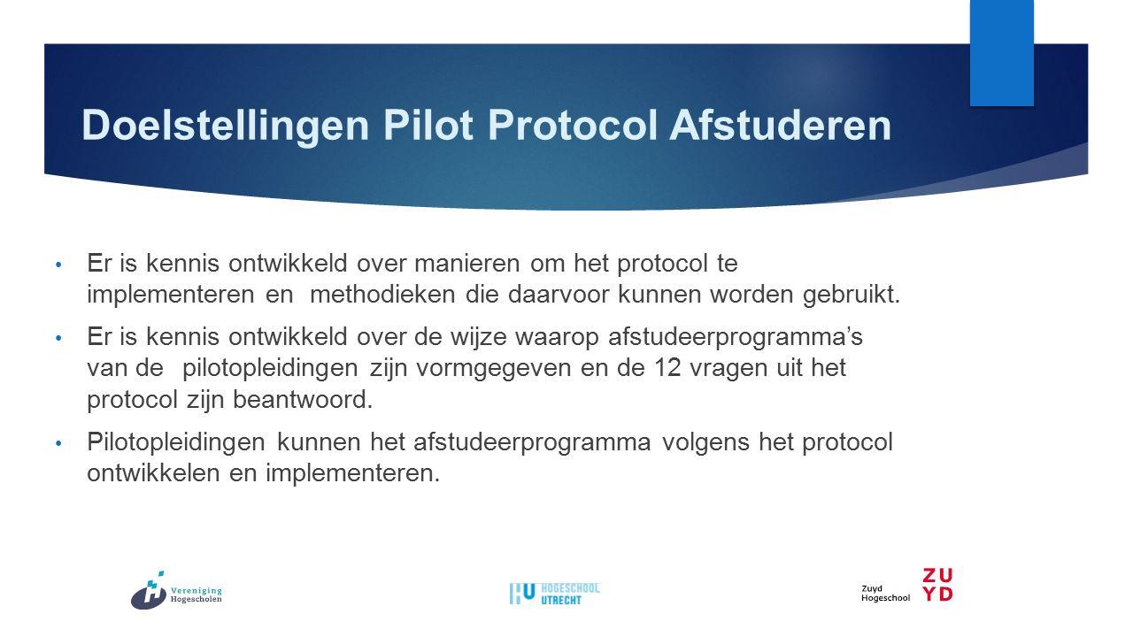 Doelstellingen Pilot Protocol Afstuderen Er is kennis ontwikkeld over manieren om het protocol te implementeren en methodieken die daarvoor kunnen worden gebruikt.