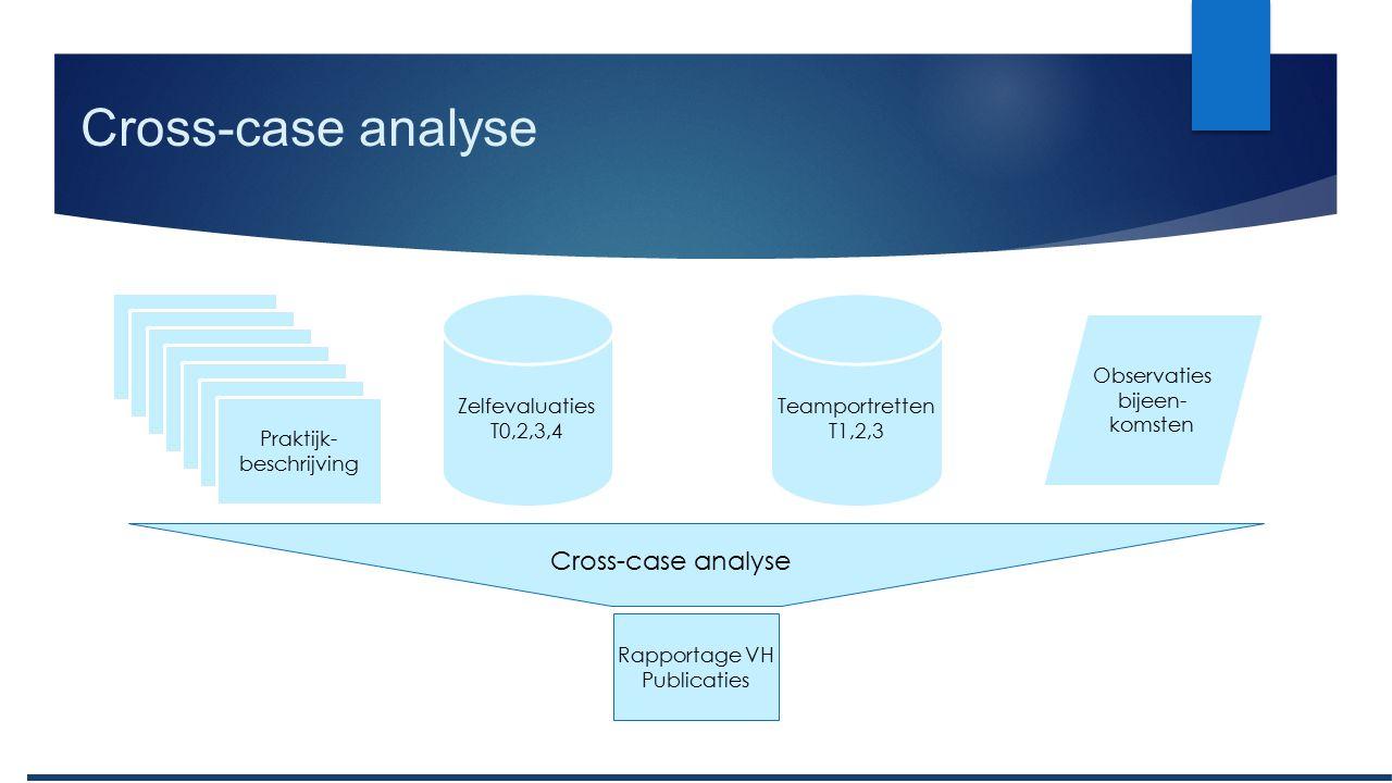 Cross-case analyse Praktijk- beschrijving Zelfevaluaties T0,2,3,4 Observaties bijeen- komsten Teamportretten T1,2,3 Cross-case analyse Rapportage VH Publicaties