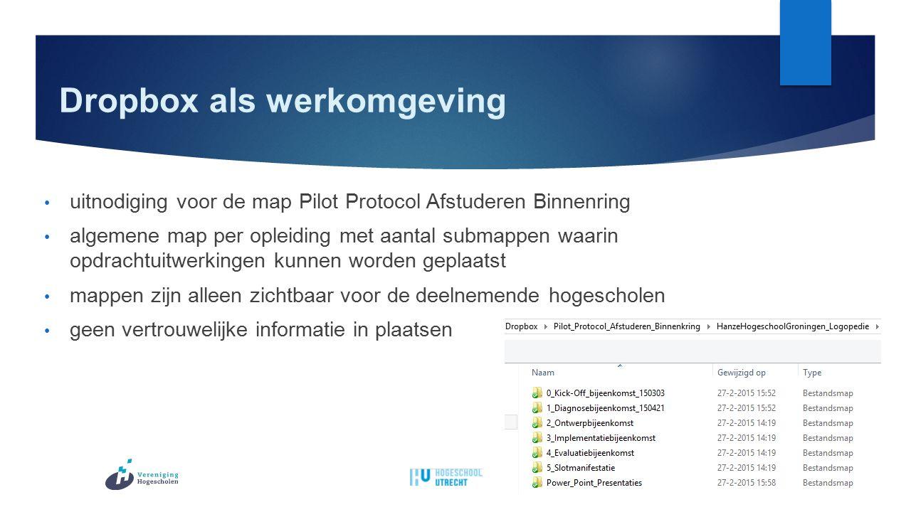 Dropbox als werkomgeving uitnodiging voor de map Pilot Protocol Afstuderen Binnenring algemene map per opleiding met aantal submappen waarin opdrachtuitwerkingen kunnen worden geplaatst mappen zijn alleen zichtbaar voor de deelnemende hogescholen geen vertrouwelijke informatie in plaatsen