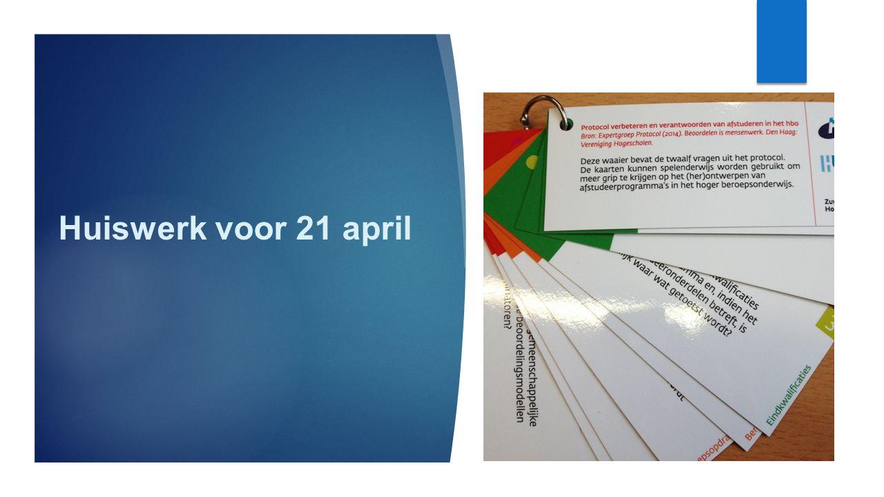 Huiswerk voor 21 april