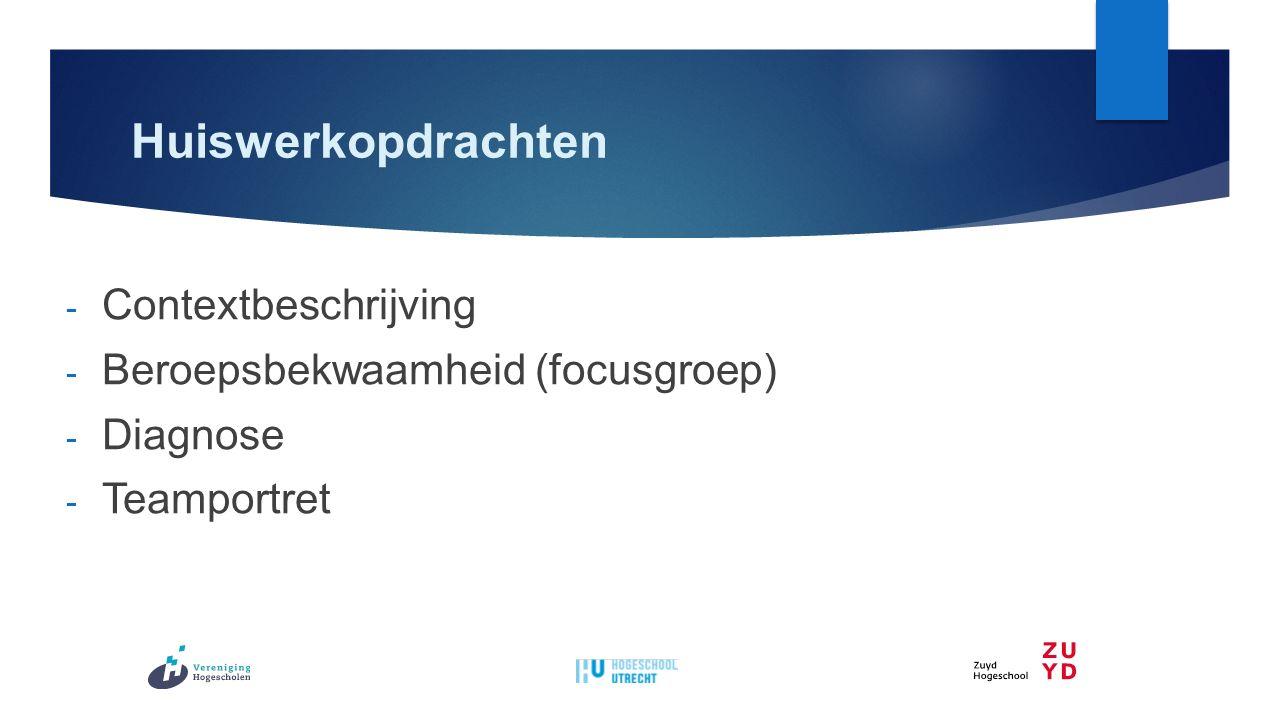 Huiswerkopdrachten - Contextbeschrijving - Beroepsbekwaamheid (focusgroep) - Diagnose - Teamportret