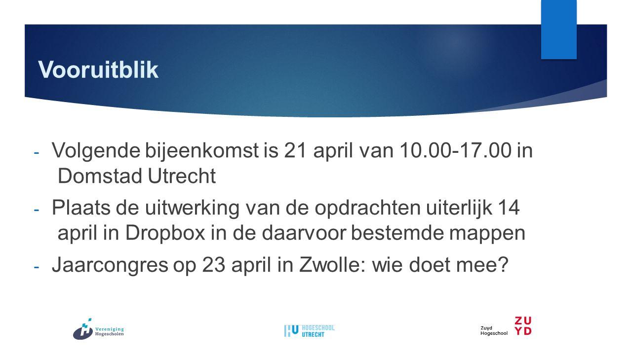 Vooruitblik - Volgende bijeenkomst is 21 april van 10.00-17.00 in Domstad Utrecht - Plaats de uitwerking van de opdrachten uiterlijk 14 april in Dropbox in de daarvoor bestemde mappen - Jaarcongres op 23 april in Zwolle: wie doet mee