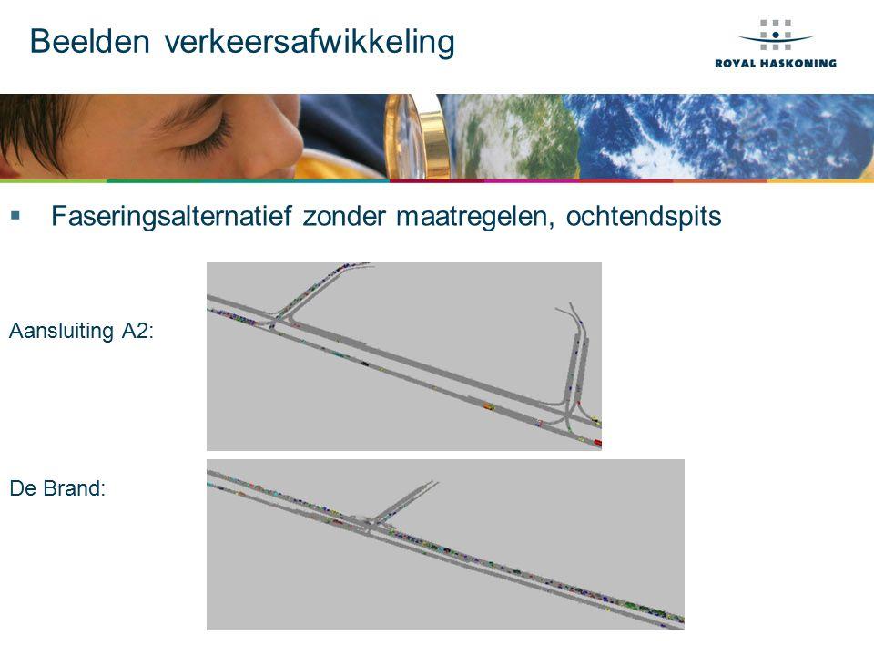 Beelden verkeersafwikkeling  Faseringsalternatief zonder maatregelen, ochtendspits Aansluiting A2: De Brand: