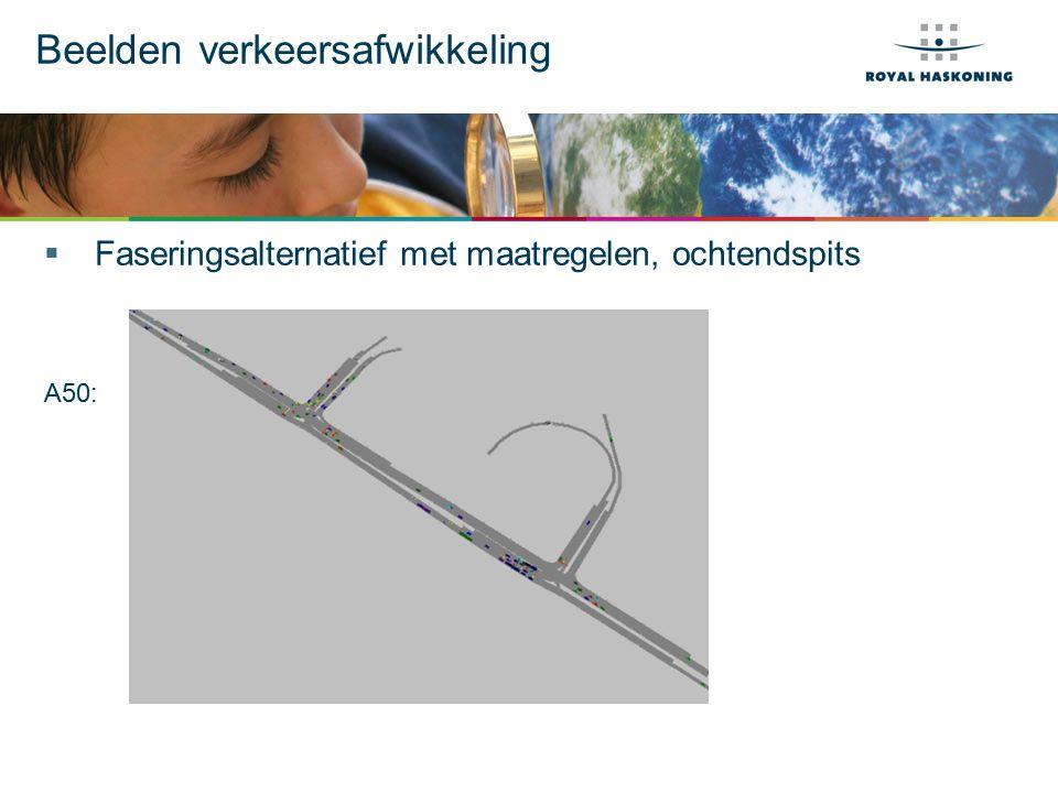 Beelden verkeersafwikkeling  Faseringsalternatief met maatregelen, ochtendspits A50: