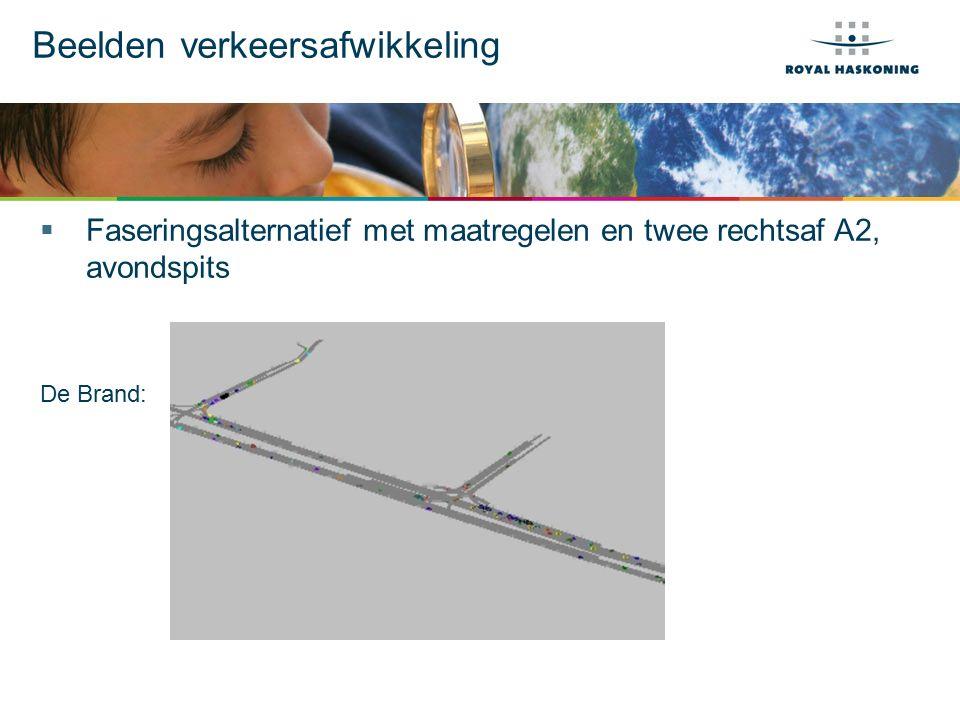 Beelden verkeersafwikkeling  Faseringsalternatief met maatregelen en twee rechtsaf A2, avondspits De Brand: