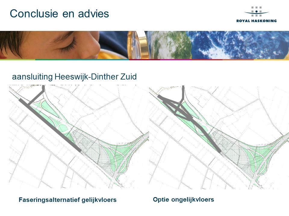 Conclusie en advies aansluiting Heeswijk-Dinther Zuid Voorkeursalternatief Faseringsalternatief gelijkvloers Optie ongelijkvloers
