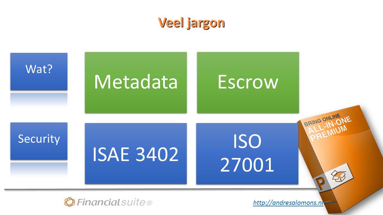 http://andresalomons.nl Veel jargon MetadataEscrow ISAE 3402 ISO 27001