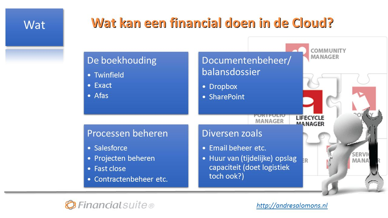 http://andresalomons.nl Wat kan een financial doen in de Cloud? Wat kan een financial doen in de Cloud? De boekhouding Twinfield Exact Afas Documenten