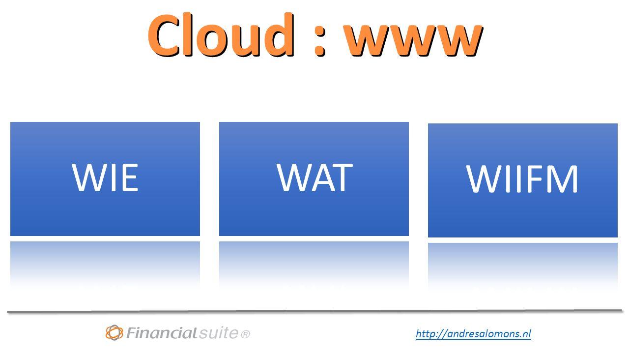 http://andresalomons.nl Cloud strategie wordt onvermijdelijk Hardware Wie is verantwoordelijk voor de strategie Finance is niet in de lead, ICT ook niet Management bepaalt met de stakeholders de strategie Wat wel en wat niet in de Cloud