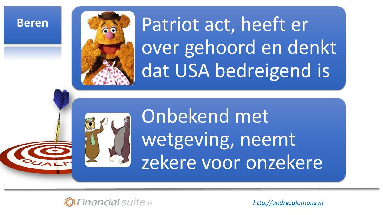 http://andresalomons.nl Patriot act, heeft er over gehoord en denkt dat USA bedreigend is Onbekend met wetgeving, neemt zekere voor onzekere